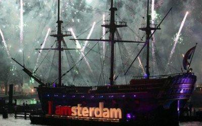 """Delivery of deck barge """"I Amsterdam"""" New Year's Eve celebration of the State Lottery"""